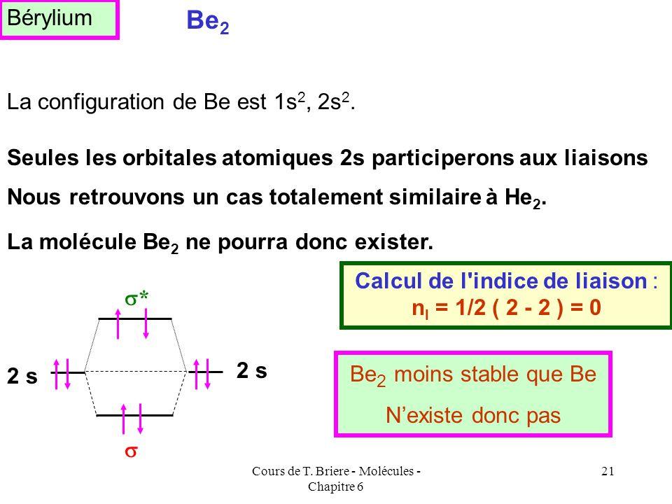 Cours de T. Briere - Molécules - Chapitre 6 20 La configuration de Li est 1s 2 2s 1, nous devrions donc considérer deux types d'orbitales atomiques di