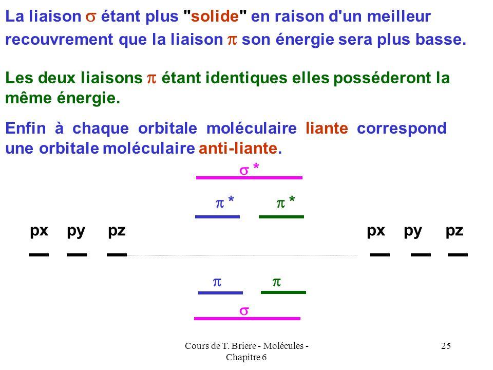 Cours de T. Briere - Molécules - Chapitre 6 24 AXIAL LATERAL Les interactions entre orbitales p sont soit axiales, soit latérales. Nous aurons donc le