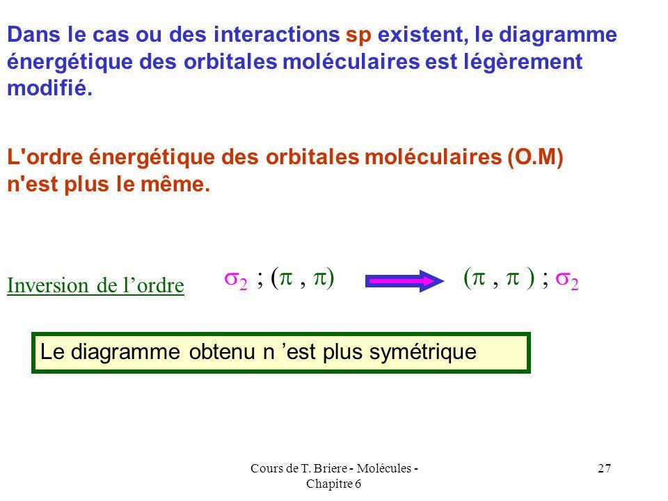 Cours de T. Briere - Molécules - Chapitre 6 26 Interactions entre orbitales atomiques s et p : Avec interactions sp B 2, C 2, N 2 Sans interactions sp