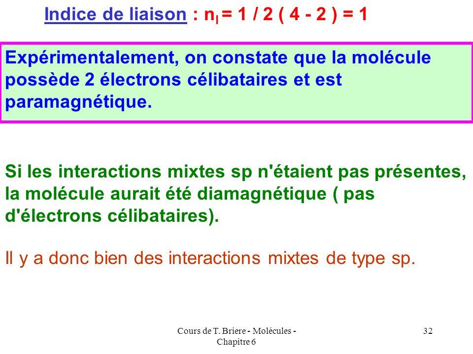 Cours de T. Briere - Molécules - Chapitre 6 31 Application à la molécule B 2 (supposée avec interactions sp) Application à la Molécule B 2 (supposée s