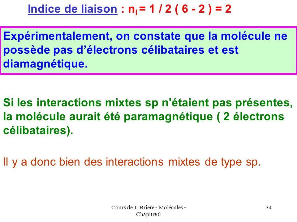 Cours de T. Briere - Molécules - Chapitre 6 33 Application à la molécule C 2 (supposée avec interactions sp) Application à la Molécule C 2 (supposée s