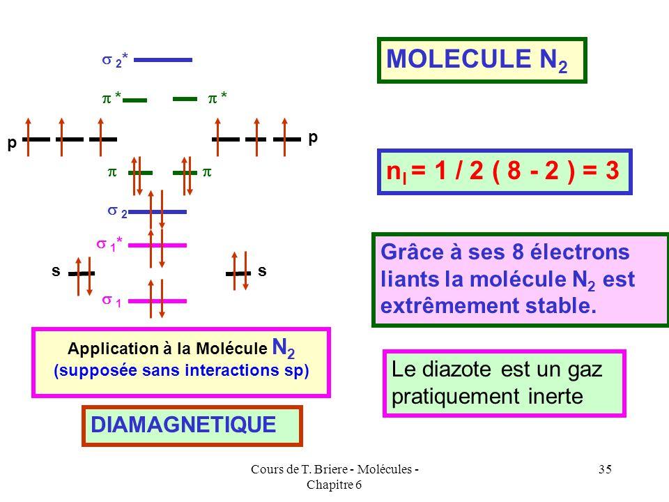Cours de T. Briere - Molécules - Chapitre 6 34 Expérimentalement, on constate que la molécule ne possède pas délectrons célibataires et est diamagnéti