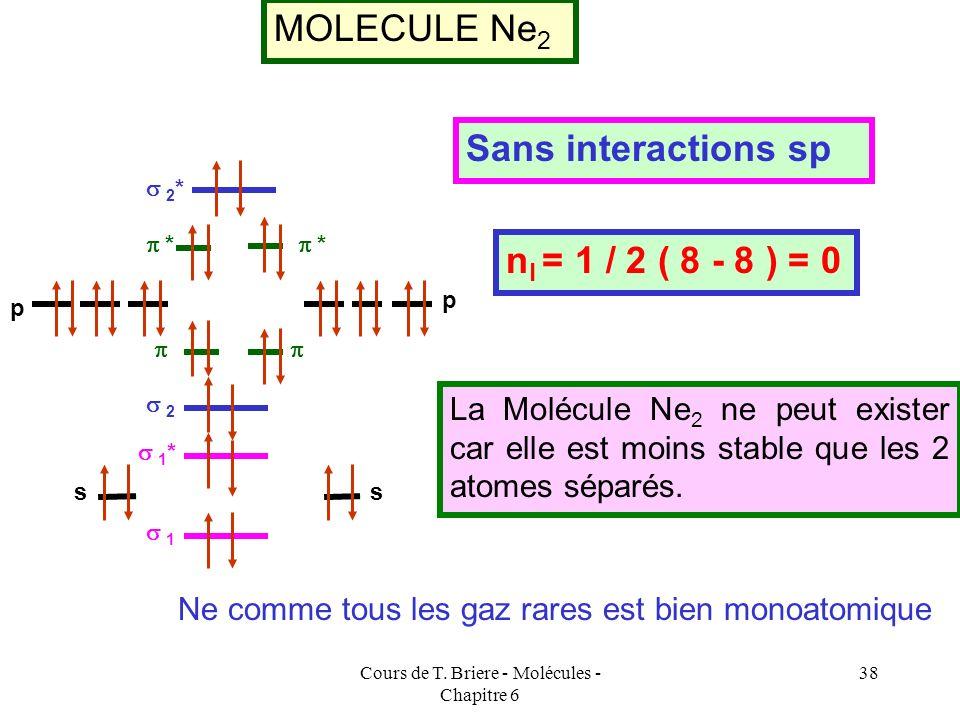 Cours de T. Briere - Molécules - Chapitre 6 37 MOLECULE F 2 2 2 * * * 1 1 * p p ss Sans interactions sp n l = 1 / 2 ( 8 - 6 ) = 1 pas d électrons céli