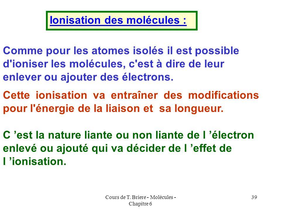 Cours de T. Briere - Molécules - Chapitre 6 38 MOLECULE Ne 2 Sans interactions sp n l = 1 / 2 ( 8 - 8 ) = 0 La Molécule Ne 2 ne peut exister car elle