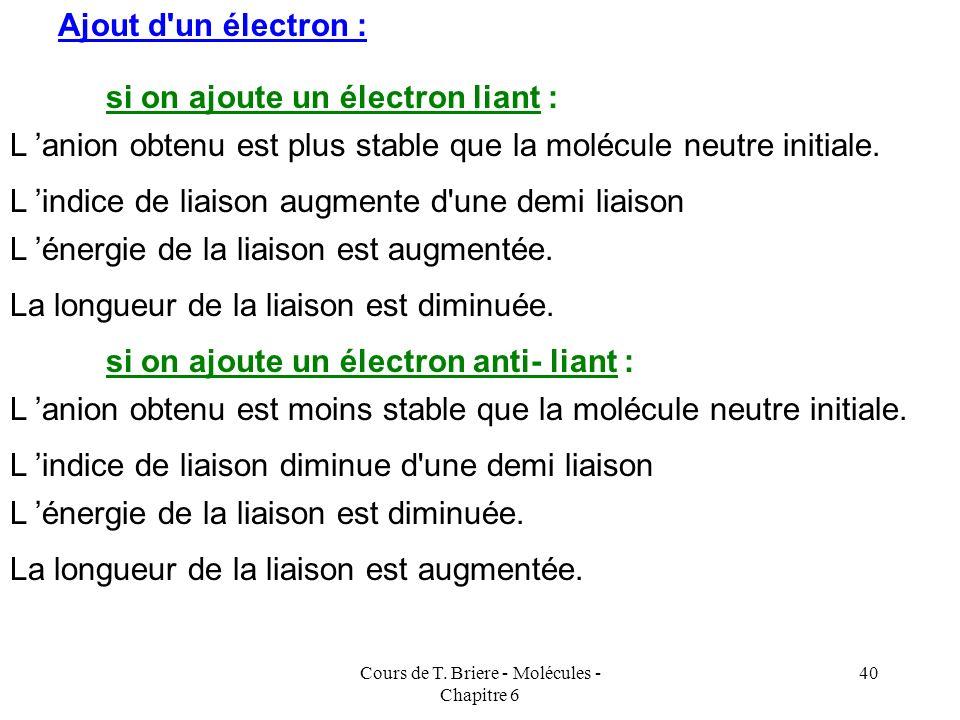 Cours de T. Briere - Molécules - Chapitre 6 39 Ionisation des molécules : Cette ionisation va entraîner des modifications pour l'énergie de la liaison