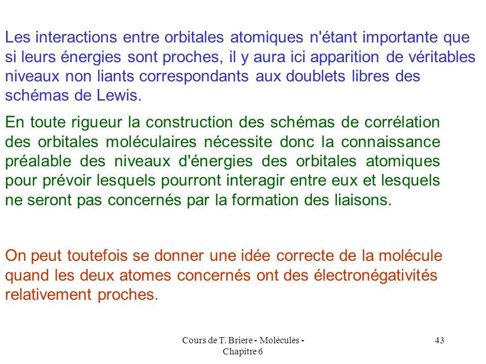 Cours de T. Briere - Molécules - Chapitre 6 42 Extension aux molécules hétéro-nucléaire A-B Une règle générale veut que les atomes les plus électronég