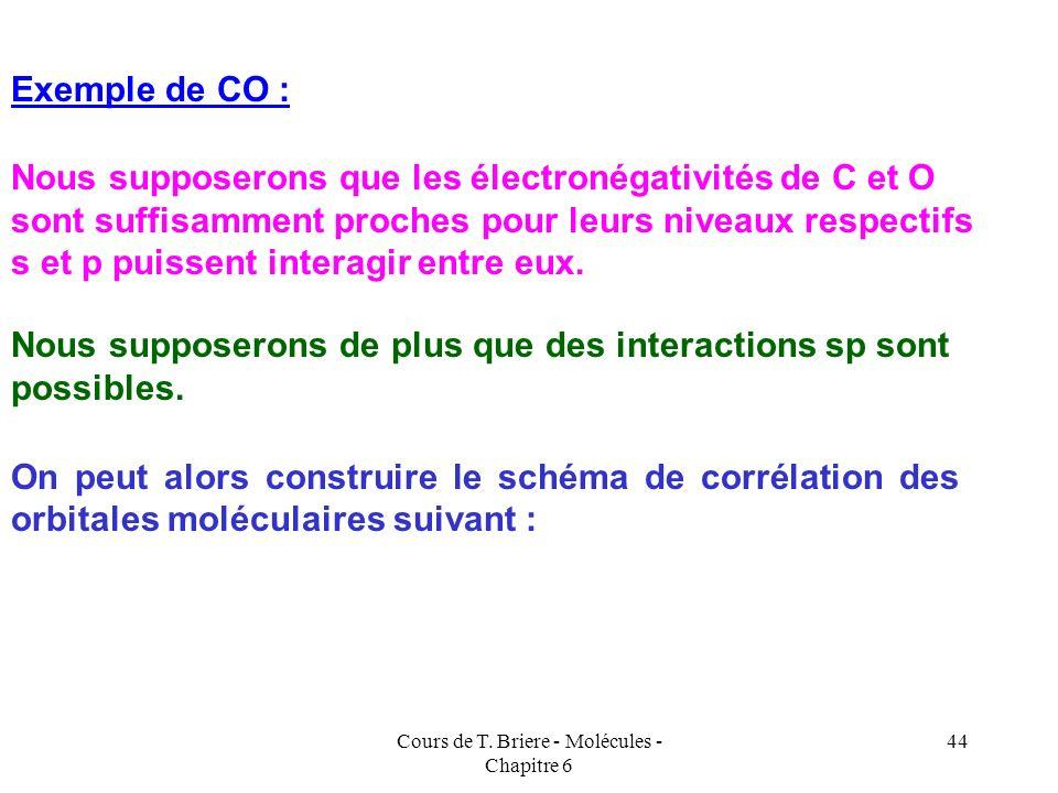 Cours de T. Briere - Molécules - Chapitre 6 43 En toute rigueur la construction des schémas de corrélation des orbitales moléculaires nécessite donc l