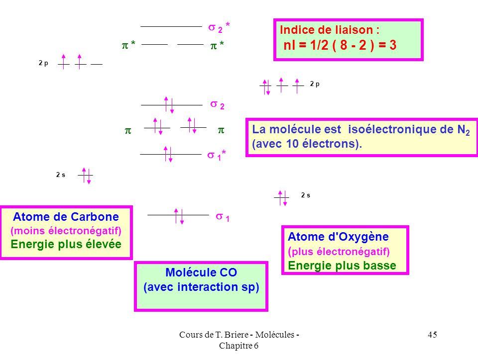 Cours de T. Briere - Molécules - Chapitre 6 44 On peut alors construire le schéma de corrélation des orbitales moléculaires suivant : Exemple de CO :