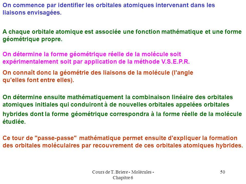 Cours de T. Briere - Molécules - Chapitre 6 49 Nous n'allons pas entrer dans le détail de cette technique mathématique mais nous allons illustrer simp