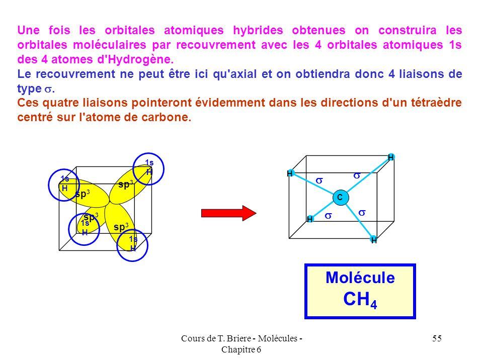 Cours de T. Briere - Molécules - Chapitre 6 54 1 s + 3 p = 4 sp 3 2s sp 3 4 Orbitales atomiques