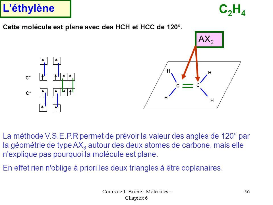 Cours de T. Briere - Molécules - Chapitre 6 55 Une fois les orbitales atomiques hybrides obtenues on construira les orbitales moléculaires par recouvr