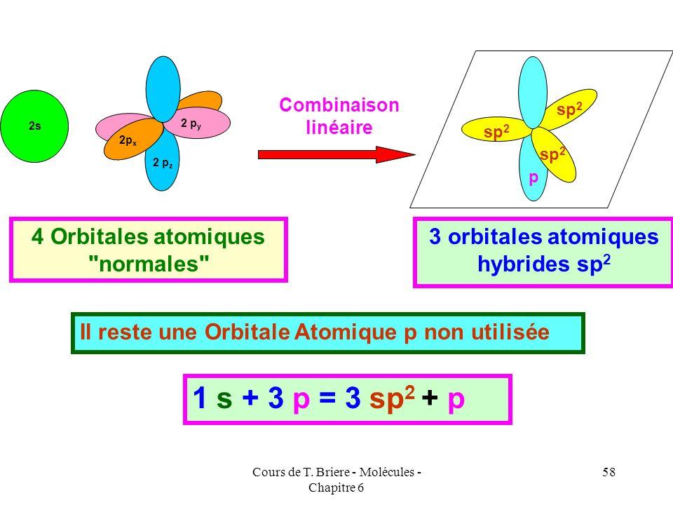 Cours de T. Briere - Molécules - Chapitre 6 57 Ces orbitales hybrides sp 2 pointeront dans les directions d un triangle équilatéral centré sur l atome