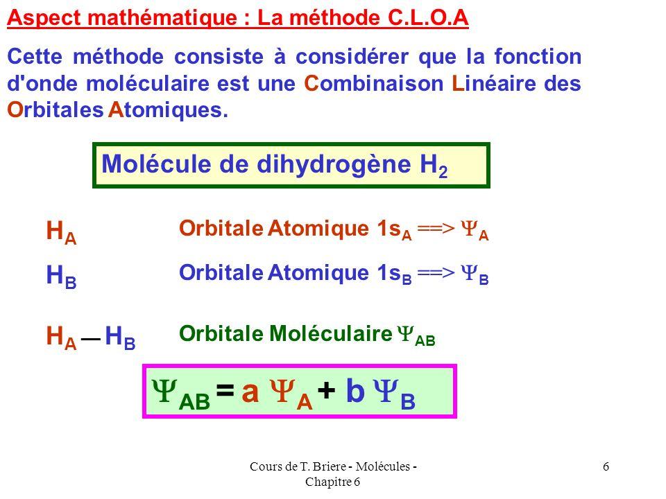 Cours de T. Briere - Molécules - Chapitre 6 5 En général les liaisons de type sont plus fortes que les liaisons de type, car elles correspondent à un