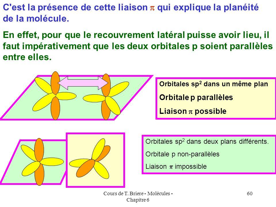 Cours de T. Briere - Molécules - Chapitre 6 59 A cause de l'orbitale p inutilisée il va y avoir création d'une liaison en plus des liaisons. sp 2 p HH