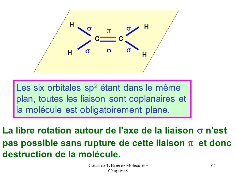 Cours de T. Briere - Molécules - Chapitre 6 60 C'est la présence de cette liaison qui explique la planéité de la molécule. En effet, pour que le recou