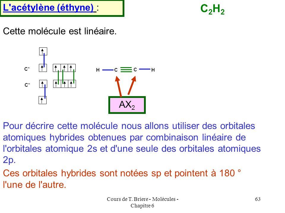Cours de T. Briere - Molécules - Chapitre 6 62 C CH 3 H3CH3CH H C Z But-2-ène E But-2-ène Cette absence de libre rotation autour de la double liaison