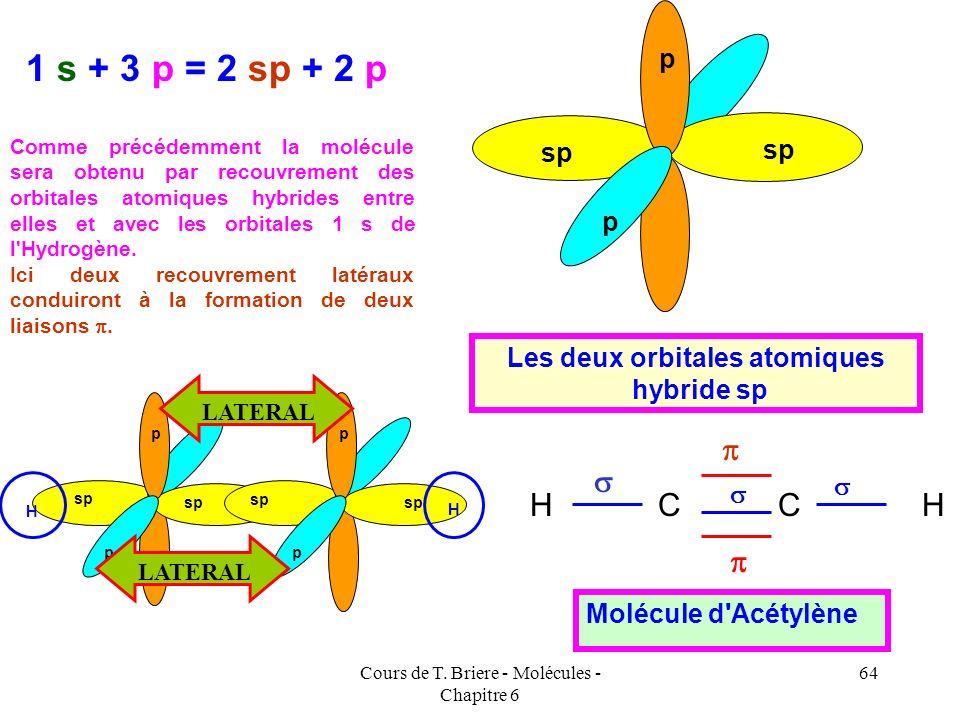 Cours de T. Briere - Molécules - Chapitre 6 63 Cette molécule est linéaire. C* C C HH Ces orbitales hybrides sont notées sp et pointent à 180 ° l'une