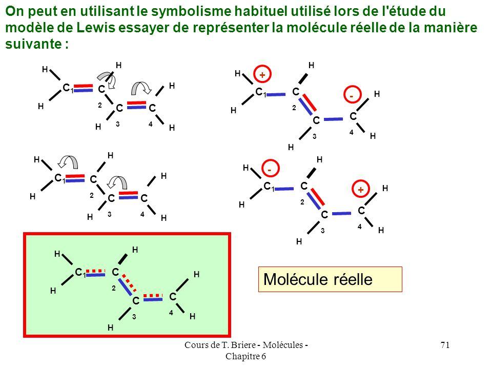 Cours de T. Briere - Molécules - Chapitre 6 70 Les données expérimentales concernant cette molécule montrent que les liaisons qui la composent ne sont