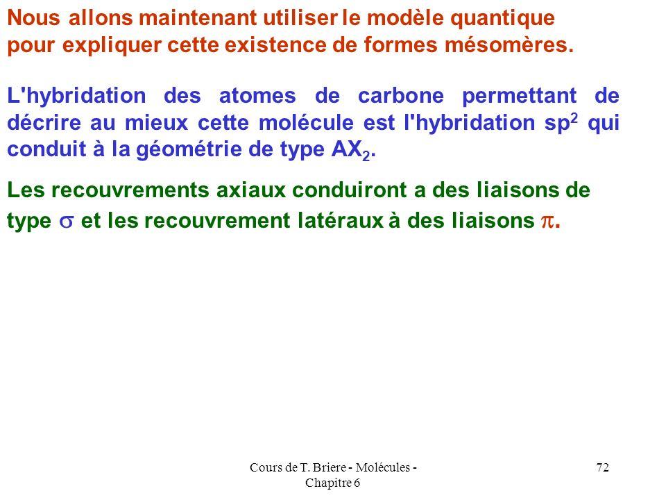 Cours de T. Briere - Molécules - Chapitre 6 71 C1C1 C2C2 C3C3 C4C4 H H H H H H On peut en utilisant le symbolisme habituel utilisé lors de l'étude du