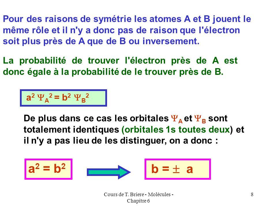 Cours de T. Briere - Molécules - Chapitre 6 7 En réalité seul le carré de la fonction d'onde possède un sens physique (probabilité de présence). AB =