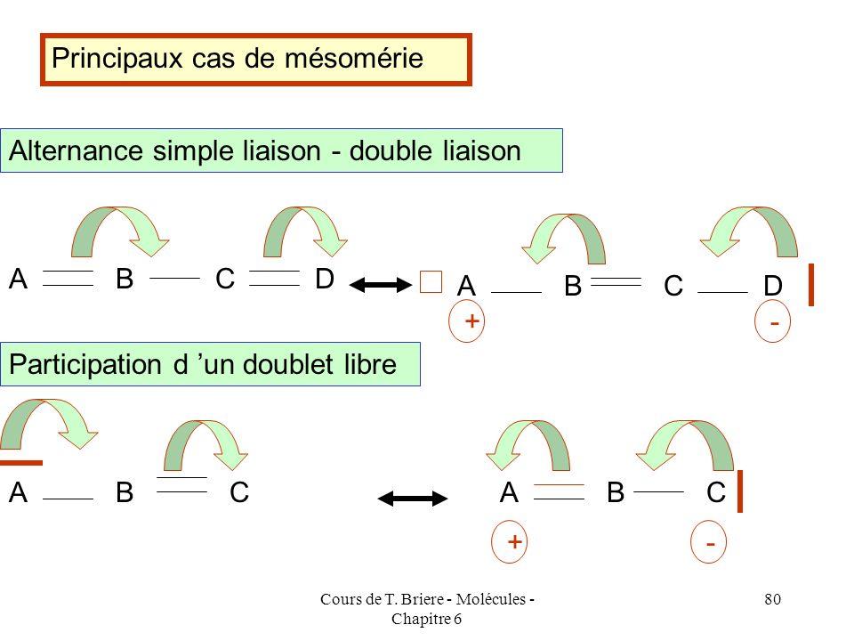 Cours de T. Briere - Molécules - Chapitre 6 79 Les règles permettant d identifier les formes mésomères de haut poids statistique ont été étudiée au pr