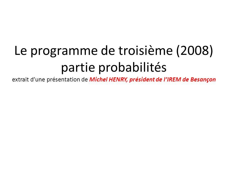 Le programme de troisième (2008) partie probabilités extrait dune présentation de Michel HENRY, président de lIREM de Besançon