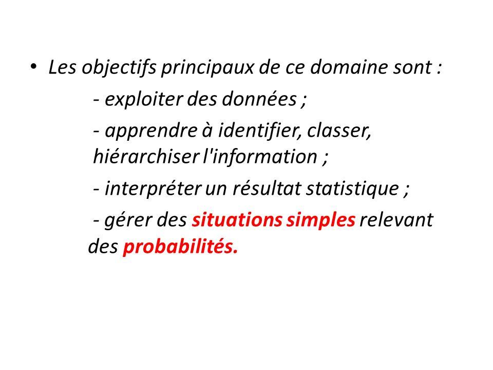 Les objectifs principaux de ce domaine sont : - exploiter des données ; - apprendre à identifier, classer, hiérarchiser l'information ; - interpréter