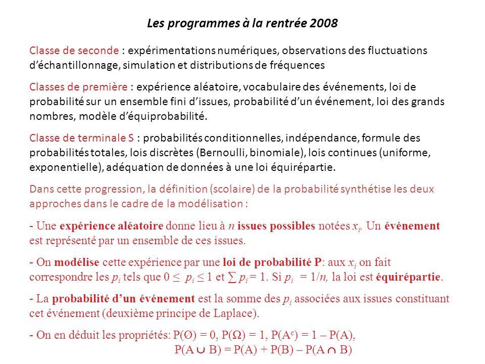 Les programmes à la rentrée 2008 Classe de seconde : expérimentations numériques, observations des fluctuations déchantillonnage, simulation et distri