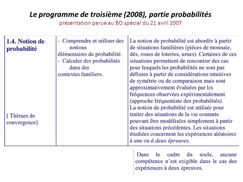 Le programme de troisième (2008), partie probabilités présentation parue au BO spécial du 21 avril 2007