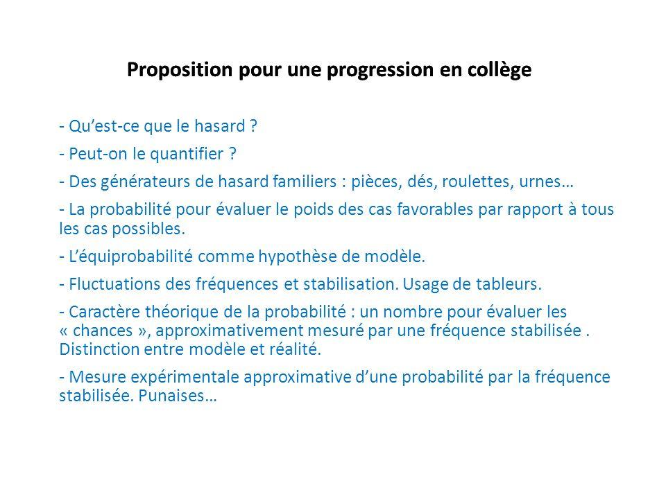 Proposition pour une progression en collège - Quest-ce que le hasard ? - Peut-on le quantifier ? - Des générateurs de hasard familiers : pièces, dés,