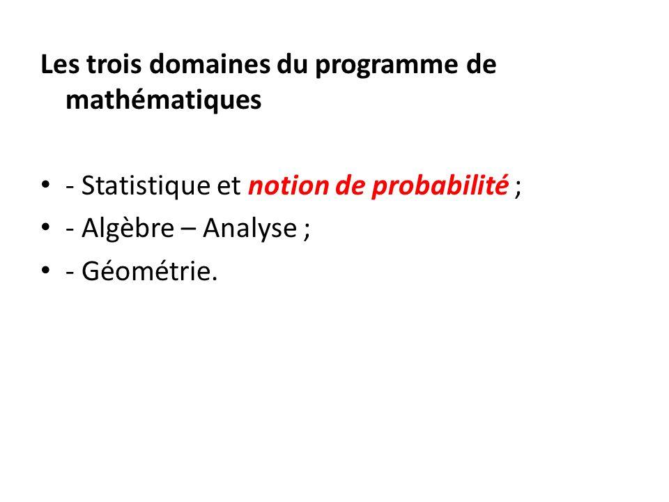 Les trois domaines du programme de mathématiques - Statistique et notion de probabilité ; - Algèbre – Analyse ; - Géométrie.