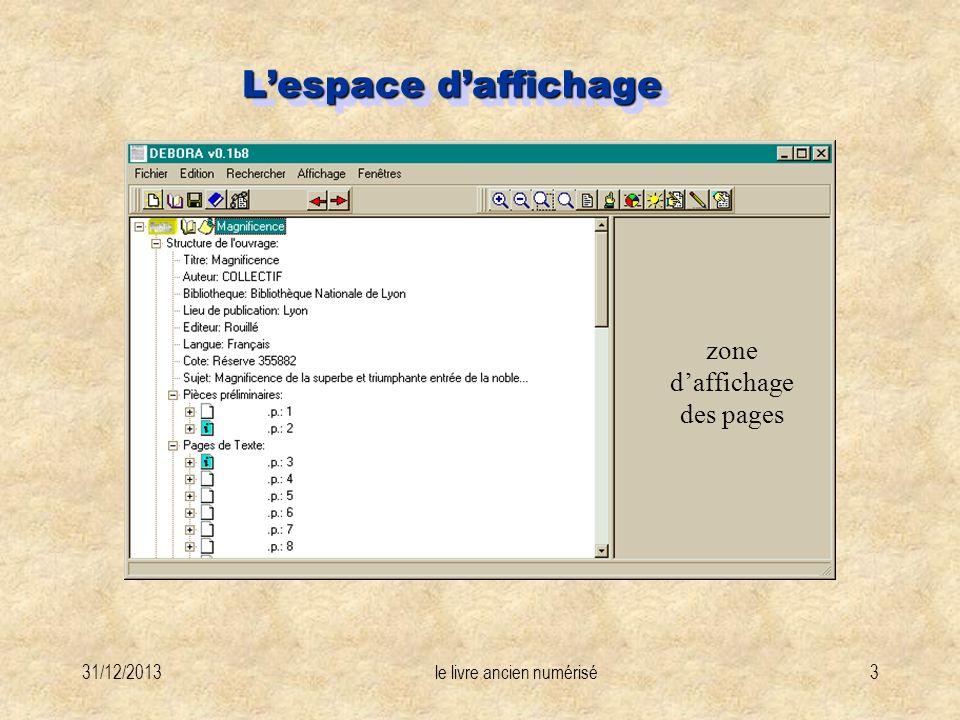 31/12/2013le livre ancien numérisé3 Lespace daffichage zone daffichage des pages