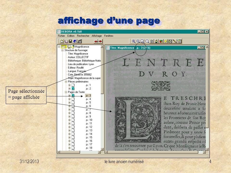 31/12/2013le livre ancien numérisé4 affichage dune page Page sélectionnée = page affichée