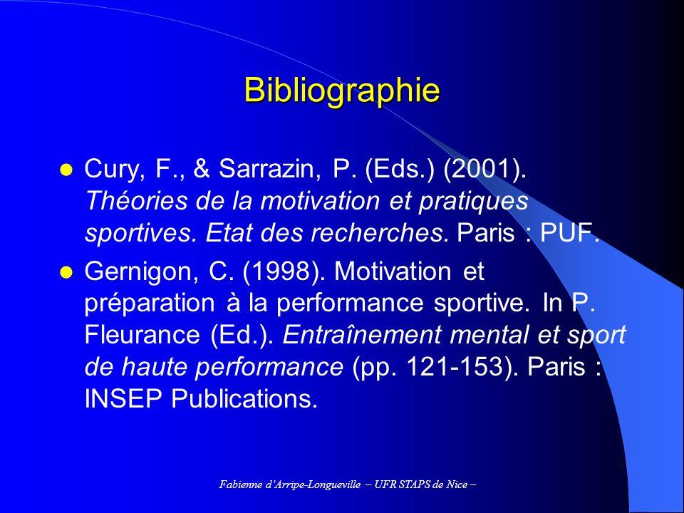 Fabienne dArripe-Longueville – UFR STAPS de Nice – La motivation comme condition doptimisation de lapprentissage Quest-ce que la motivation .