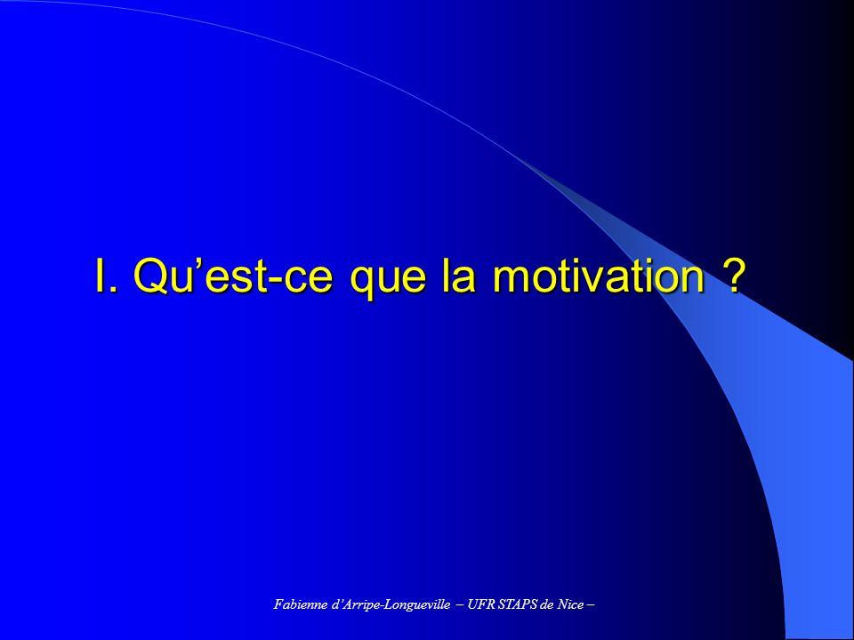 Fabienne dArripe-Longueville – UFR STAPS de Nice – Un modèle de la motivation en contexte scolaire (Viau, 1997) – 1 - Contexte - de lenseignant - des pairs - de la famille - de linstitution Perceptions de lélève - / valeur de la tâche - / Soi (attentes de succès, confiance en soi, habileté perçue..) Choix - dune difficulté - dune quantité deffort - dun niveau dengagement cognitif - dune quantité de temps Performance et apprentissage