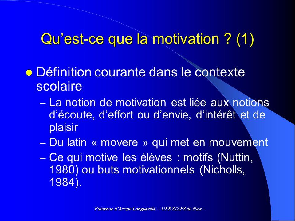 Fabienne dArripe-Longueville – UFR STAPS de Nice – Continuum dautodétermination (Brière et al., 1995 ; Deci & Ryan, 1985) Motivation intrinsèque Régulation intégrée Régulation identifiée Régulation introjectée Régulation externe Amotivation