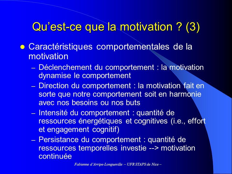 Fabienne dArripe-Longueville – UFR STAPS de Nice – Quest-ce que la motivation .