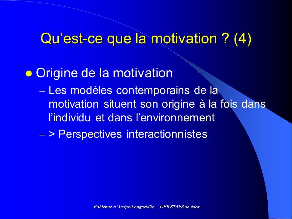 Fabienne dArripe-Longueville – UFR STAPS de Nice – Perceptions du climat motivationnel La perception d un climat motivationnel impliquant sur la tâche est apparue positivement reliée à : l orientation vers la tâche ; la motivation intrinsèque ; l autodétermination ; le sentiment de compétence ; la perception de progrès ; l investissement perçu en termes d effort ; la croyance que le succès en sport est dû aux efforts ; la sportivité ; le plaisir, la satisfaction d appartenir à une équipe etc.