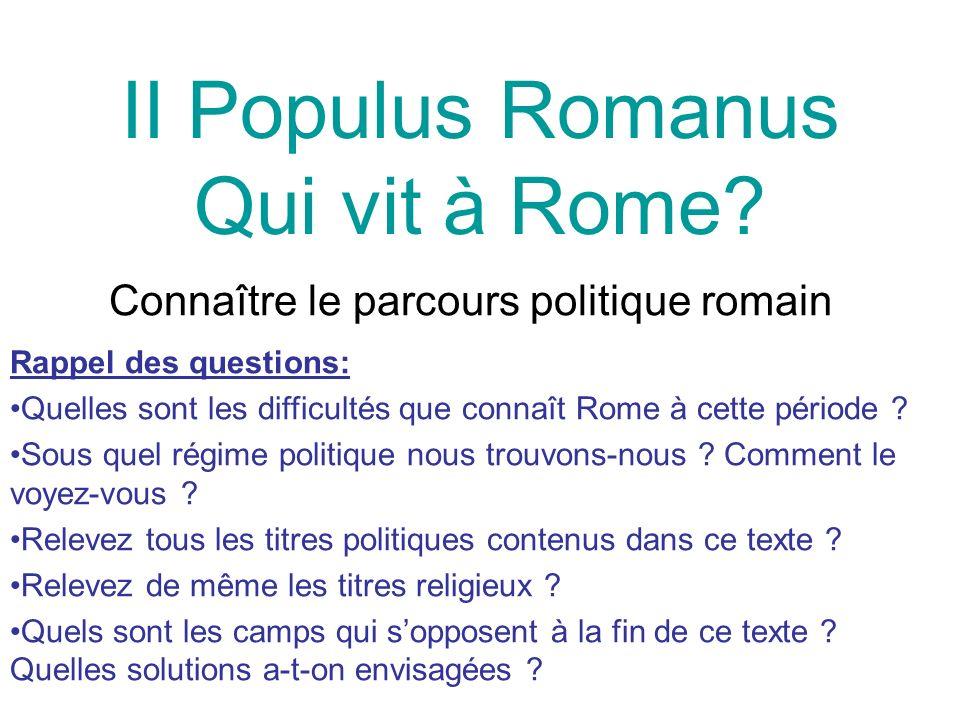 II Populus Romanus Qui vit à Rome.