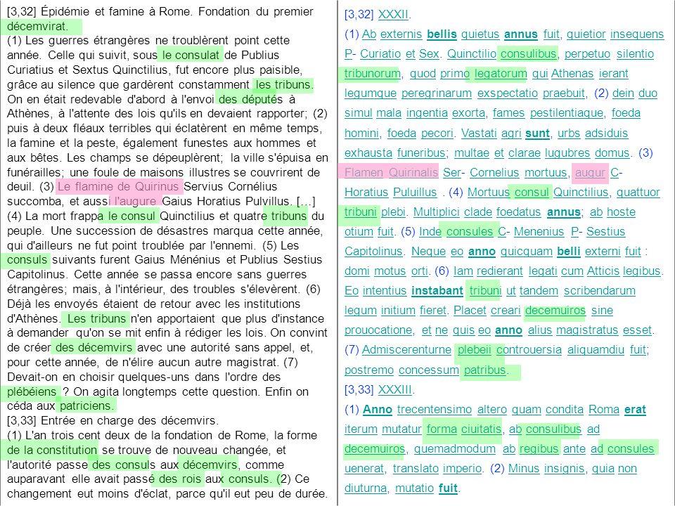 [3,32] Épidémie et famine à Rome. Fondation du premier décemvirat.