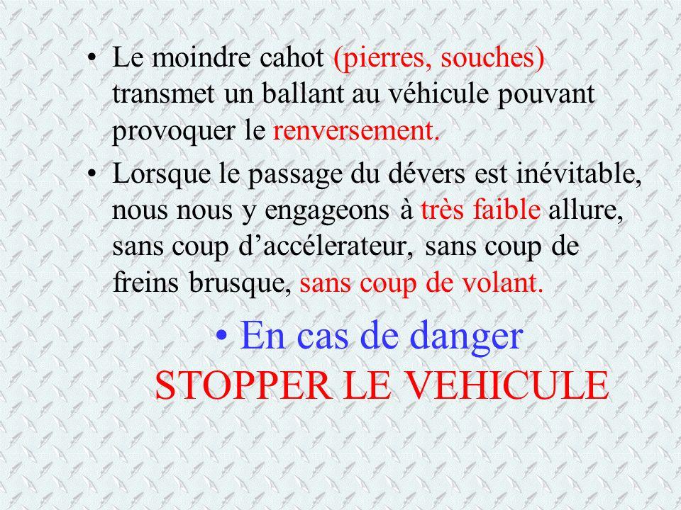 Le moindre cahot (pierres, souches) transmet un ballant au véhicule pouvant provoquer le renversement. Lorsque le passage du dévers est inévitable, no