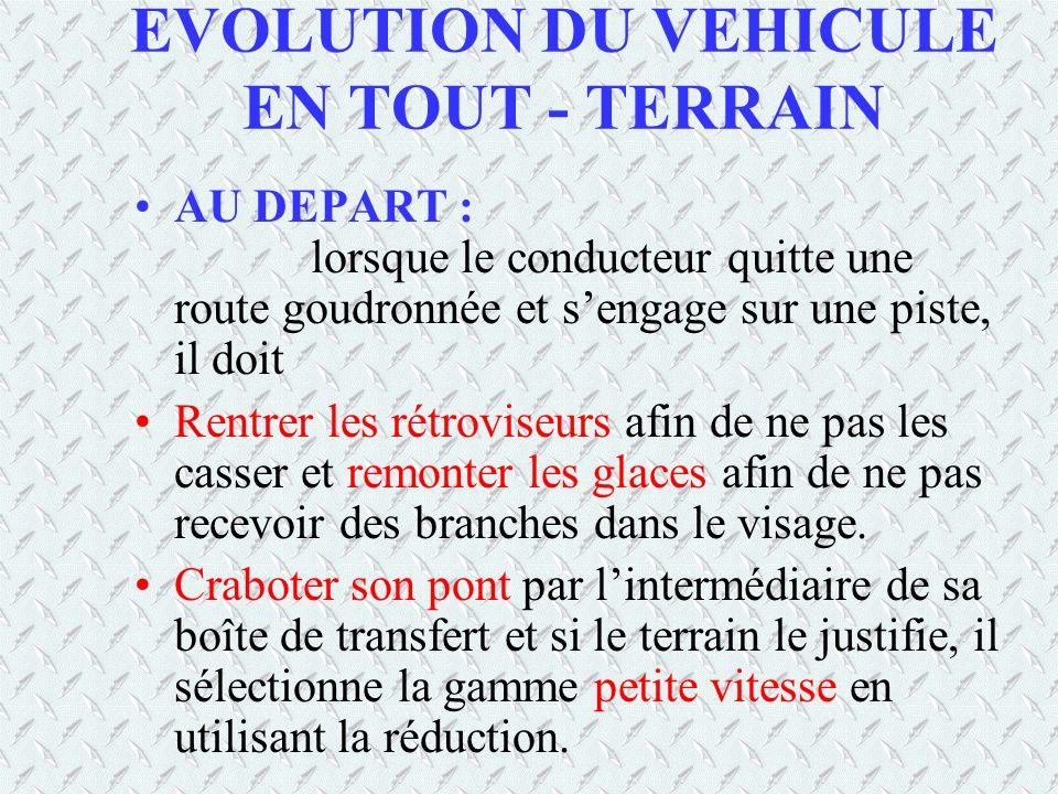 EVOLUTION DU VEHICULE EN TOUT - TERRAIN AU DEPART : lorsque le conducteur quitte une route goudronnée et sengage sur une piste, il doit Rentrer les ré