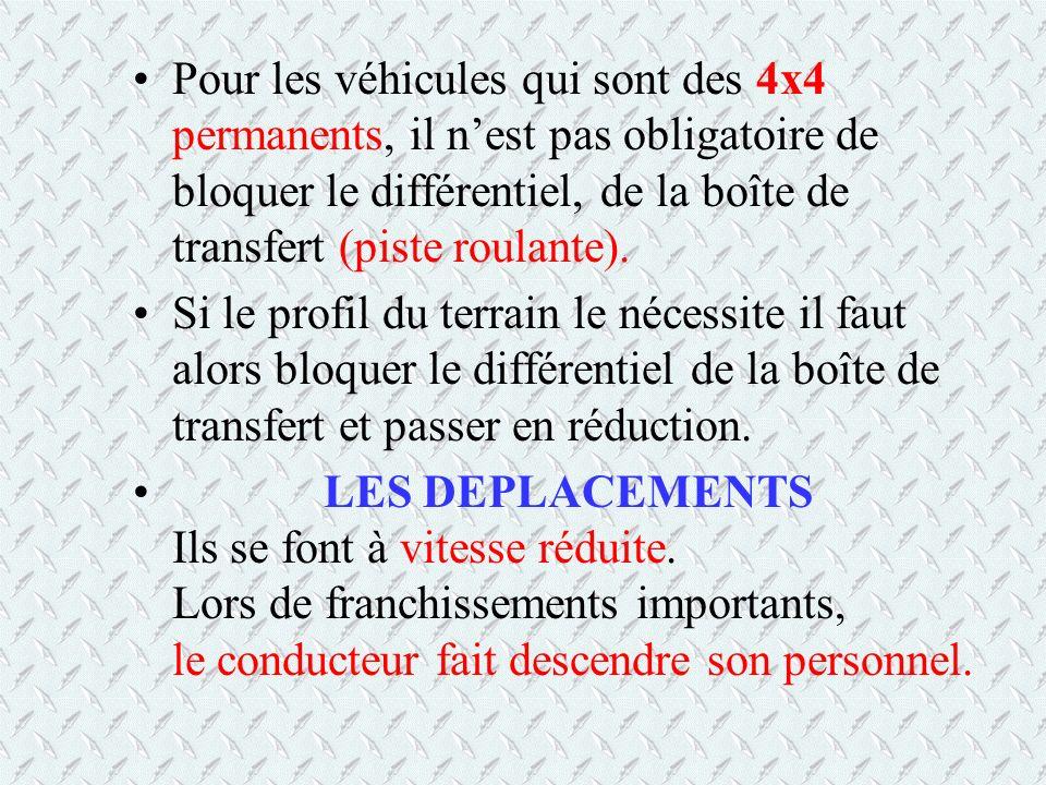 Pour les véhicules qui sont des 4x4 permanents, il nest pas obligatoire de bloquer le différentiel, de la boîte de transfert (piste roulante). Si le p