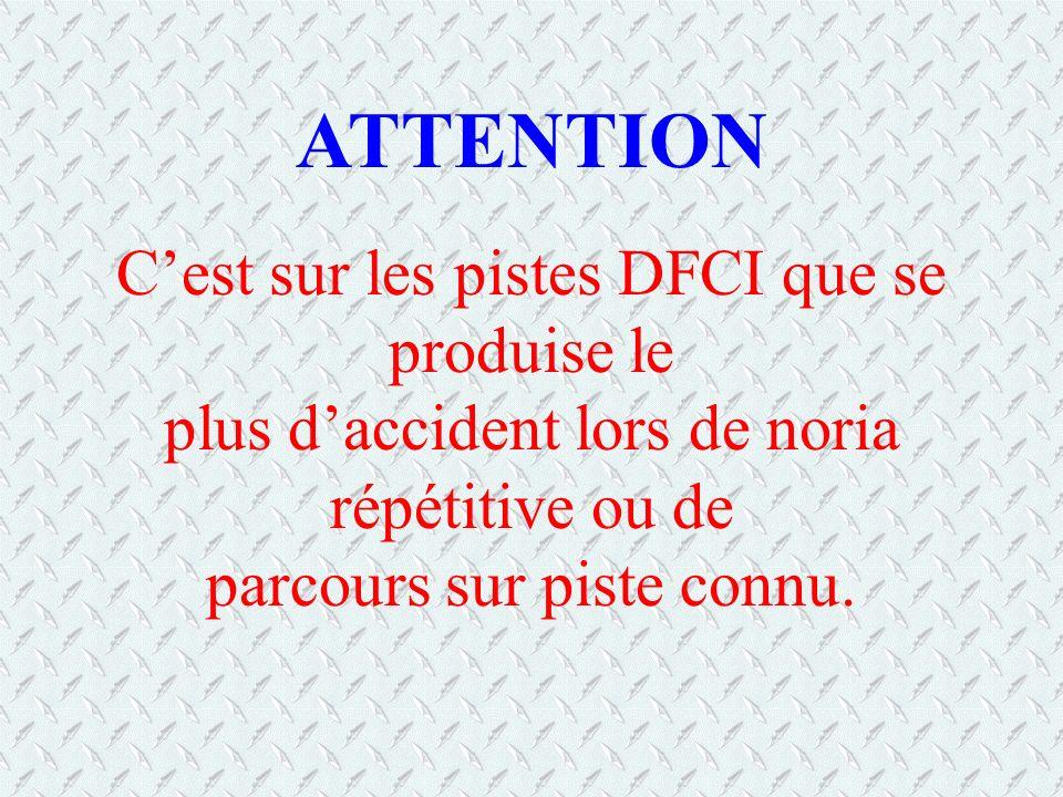 Cest sur les pistes DFCI que se produise le plus daccident lors de noria répétitive ou de parcours sur piste connu. ATTENTION