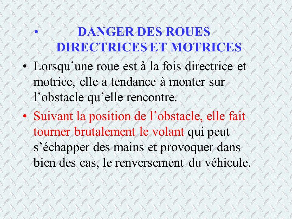DANGER DES ROUES DIRECTRICES ET MOTRICES Lorsquune roue est à la fois directrice et motrice, elle a tendance à monter sur lobstacle quelle rencontre.