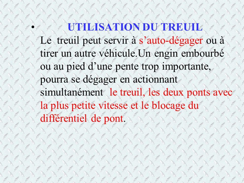 UTILISATION DU TREUIL Le treuil peut servir à sauto-dégager ou à tirer un autre véhicule.Un engin embourbé ou au pied dune pente trop importante, pour