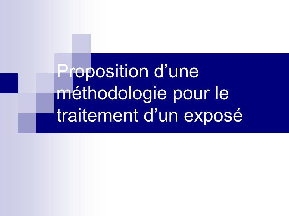 Proposition dune méthodologie pour le traitement dun exposé