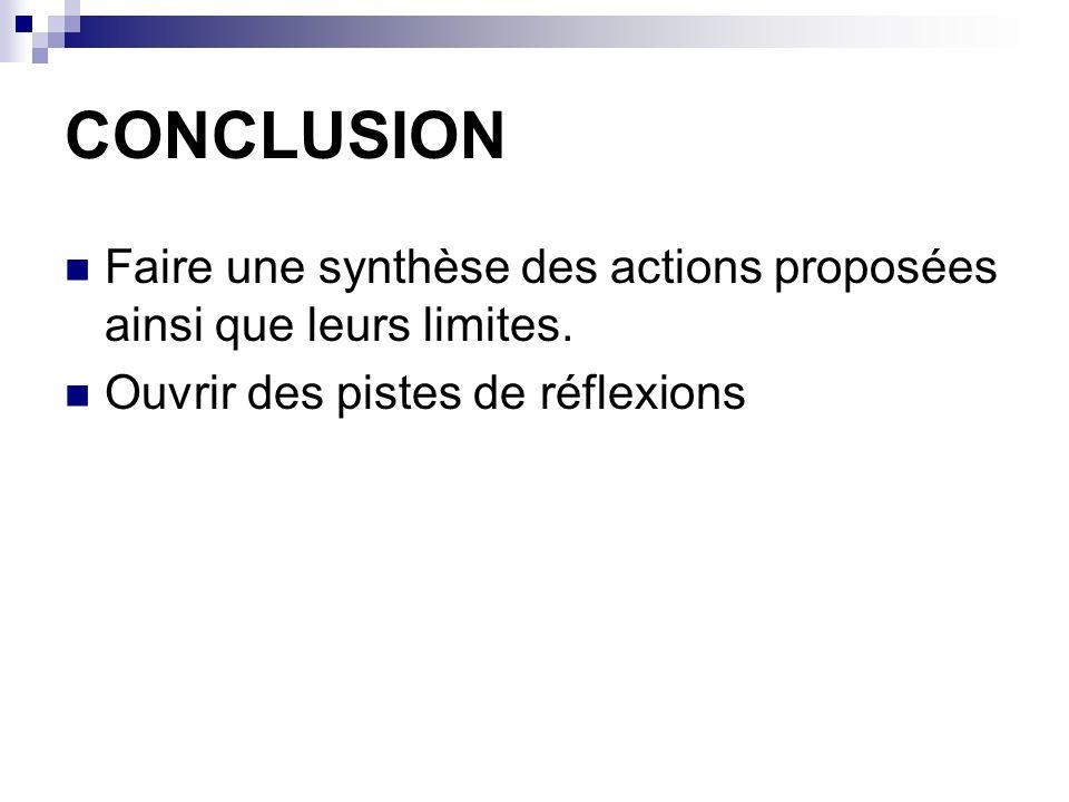 CONCLUSION Faire une synthèse des actions proposées ainsi que leurs limites. Ouvrir des pistes de réflexions