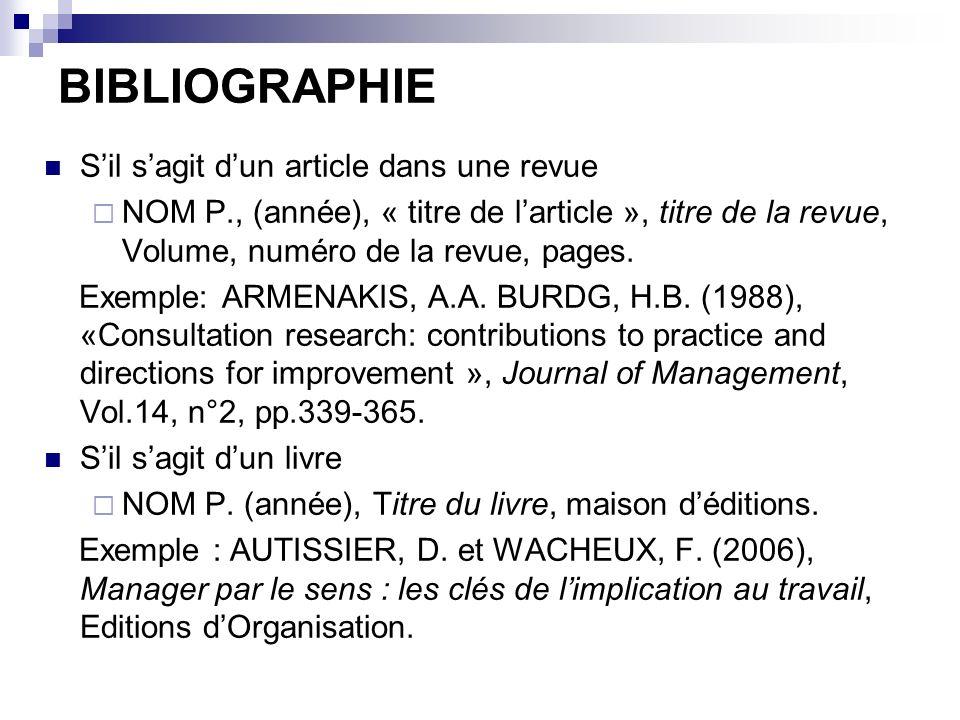 BIBLIOGRAPHIE Sil sagit dun article dans une revue NOM P., (année), « titre de larticle », titre de la revue, Volume, numéro de la revue, pages. Exemp