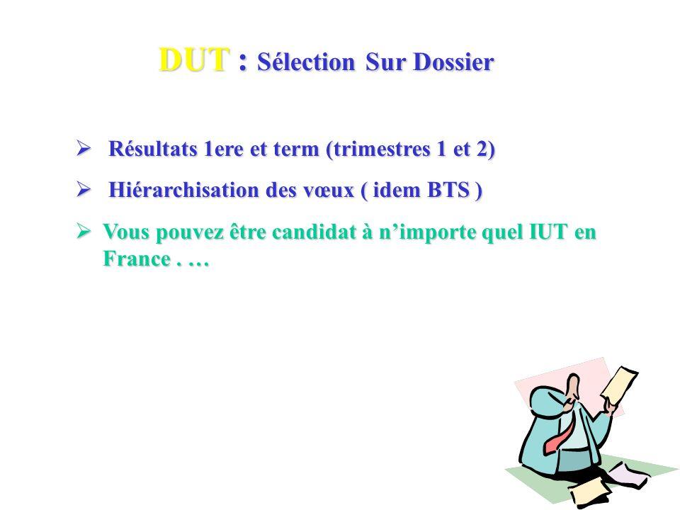 DUT : Sélection Sur Dossier Résultats 1ere et term (trimestres 1 et 2) Résultats 1ere et term (trimestres 1 et 2) Hiérarchisation des vœux ( idem BTS ) Hiérarchisation des vœux ( idem BTS ) Vous pouvez être candidat à nimporte quel IUT en France.